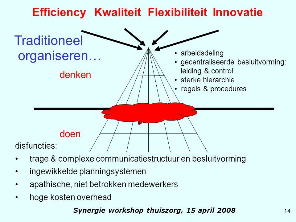 Efficiency Kwaliteit Flexibiliteit Innovatie denken doen arbeidsdeling gecentraliseerde besluitvorming: leiding & control sterke hierarchie regels & p