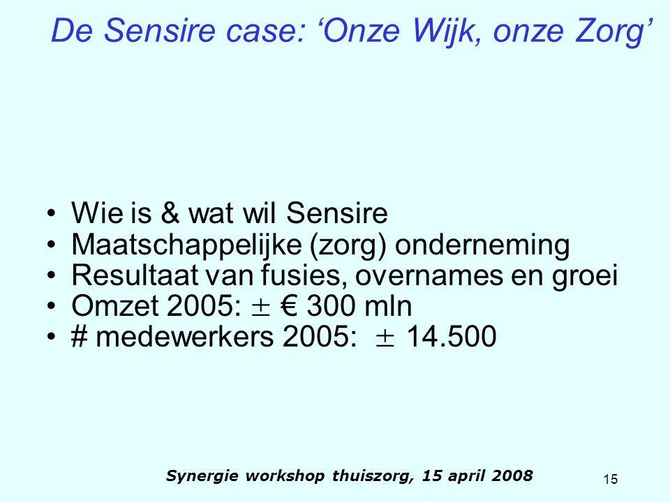 15 Synergie workshop thuiszorg, 15 april 2008 De Sensire case: 'Onze Wijk, onze Zorg' Wie is & wat wil Sensire Maatschappelijke (zorg) onderneming Res