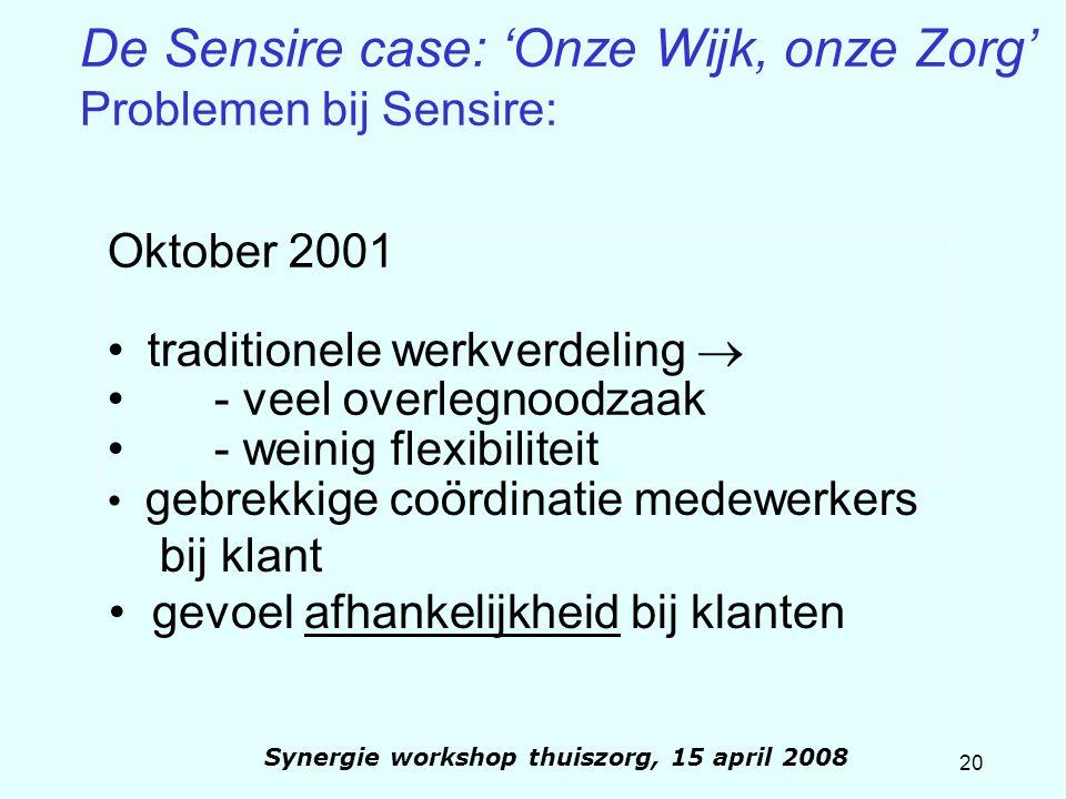 20 Synergie workshop thuiszorg, 15 april 2008 De Sensire case: 'Onze Wijk, onze Zorg' Problemen bij Sensire: Oktober 2001 traditionele werkverdeling 