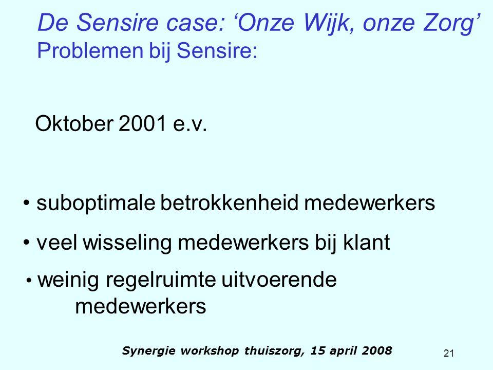 21 Synergie workshop thuiszorg, 15 april 2008 Oktober 2001 e.v. suboptimale betrokkenheid medewerkers veel wisseling medewerkers bij klant weinig rege