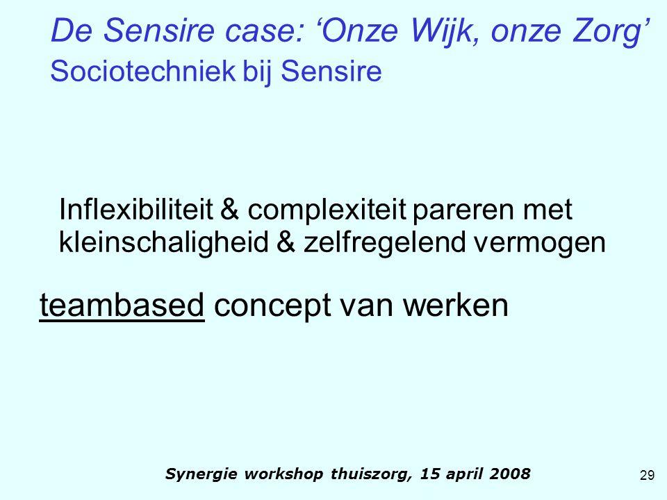 Inflexibiliteit & complexiteit pareren met kleinschaligheid & zelfregelend vermogen teambased concept van werken 29 Synergie workshop thuiszorg, 15 ap