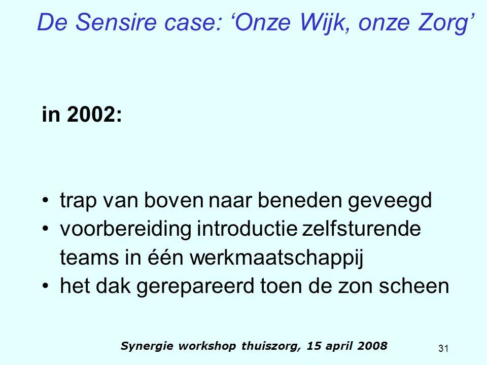 31 Synergie workshop thuiszorg, 15 april 2008 De Sensire case: 'Onze Wijk, onze Zorg' in 2002: trap van boven naar beneden geveegd voorbereiding intro