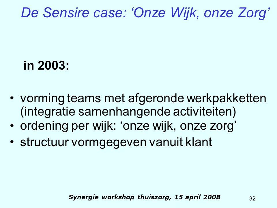 32 Synergie workshop thuiszorg, 15 april 2008 De Sensire case: 'Onze Wijk, onze Zorg' in 2003: vorming teams met afgeronde werkpakketten (integratie s