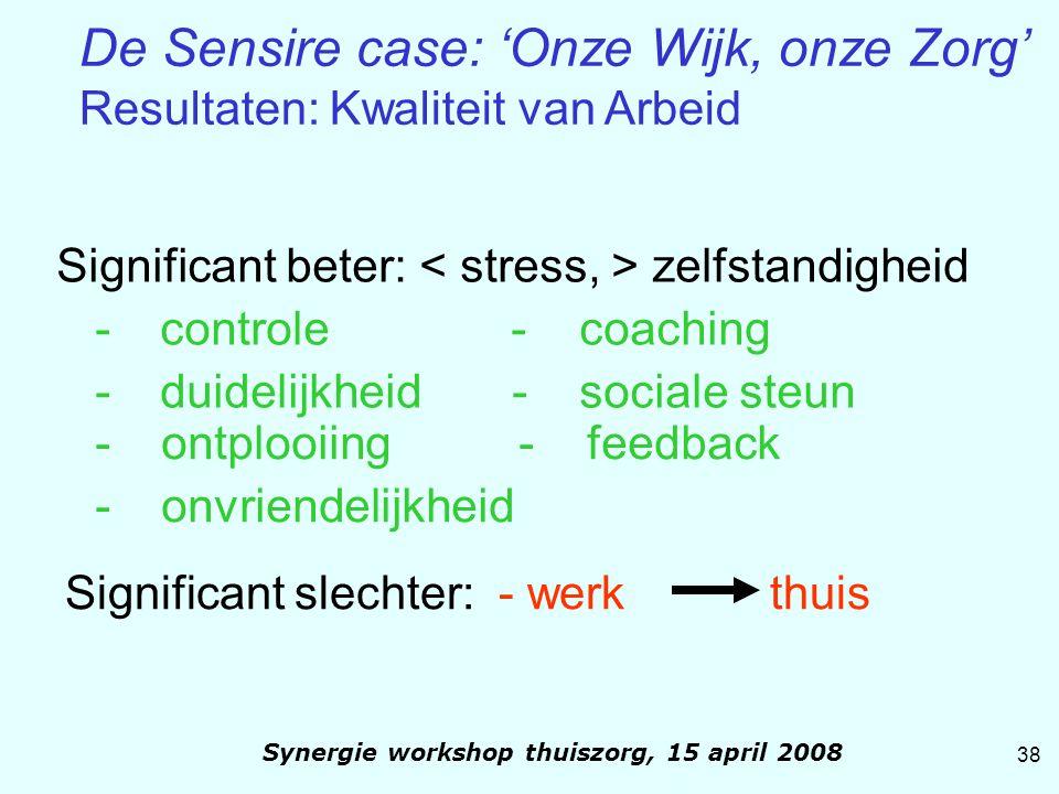 Significant beter: zelfstandigheid - controle - coaching - duidelijkheid- sociale steun - ontplooiing - feedback - onvriendelijkheid Significant slech