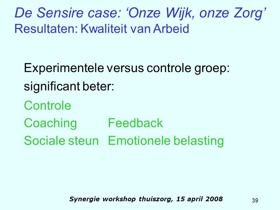39 Synergie workshop thuiszorg, 15 april 2008 Experimentele versus controle groep: significant beter: Controle CoachingFeedback Sociale steunEmotionel