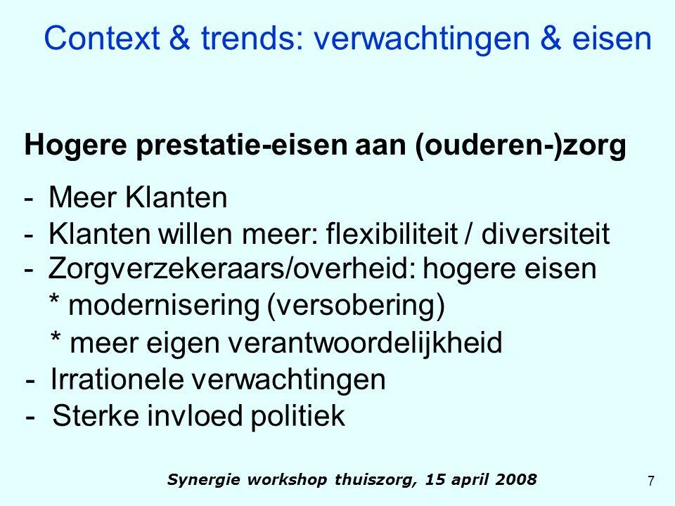 'VRIJWILLIGERSMARKT' Informele zorg beroepszorg thuis 199387 % 13 % 200380 % 20 % + 50 % 8 Context & trends: verwachtingen & eisen Synergie workshop thuiszorg, 15 april 2008