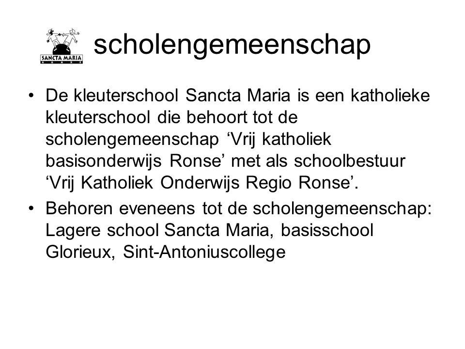 scholengemeenschap De kleuterschool Sancta Maria is een katholieke kleuterschool die behoort tot de scholengemeenschap 'Vrij katholiek basisonderwijs