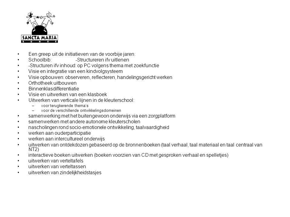Een greep uit de initiatieven van de voorbije jaren: Schoolbib: -Structureren ifv uitlenen -Structuren ifv inhoud: op PC volgens thema met zoekfunctie