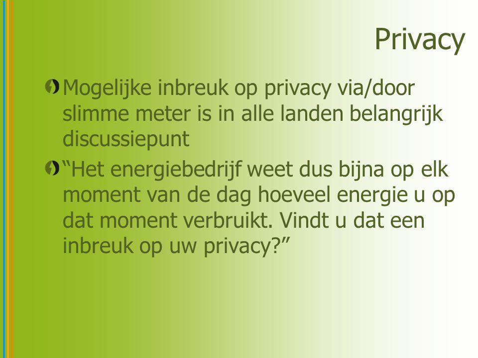 Privacy Mogelijke inbreuk op privacy via/door slimme meter is in alle landen belangrijk discussiepunt Het energiebedrijf weet dus bijna op elk moment van de dag hoeveel energie u op dat moment verbruikt.