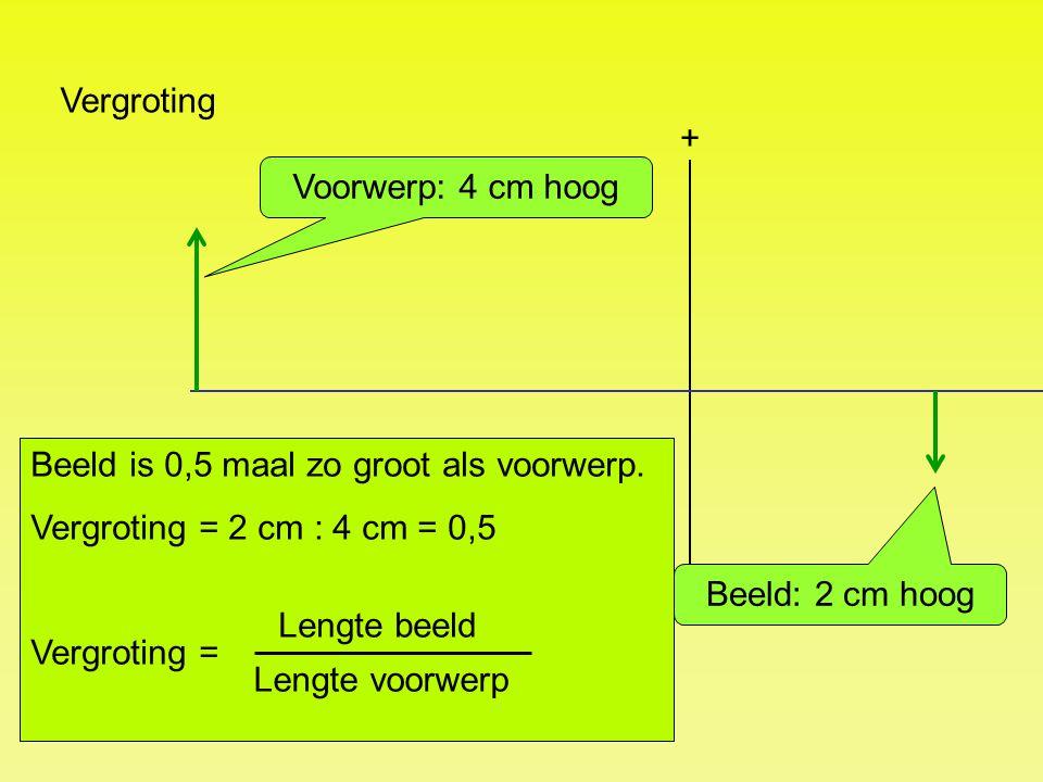 Vergroting + Beeld: 2 cm hoog Voorwerp: 4 cm hoog Beeld is 0,5 maal zo groot als voorwerp. Vergroting = 2 cm : 4 cm = 0,5 Vergroting = Lengte beeld Le