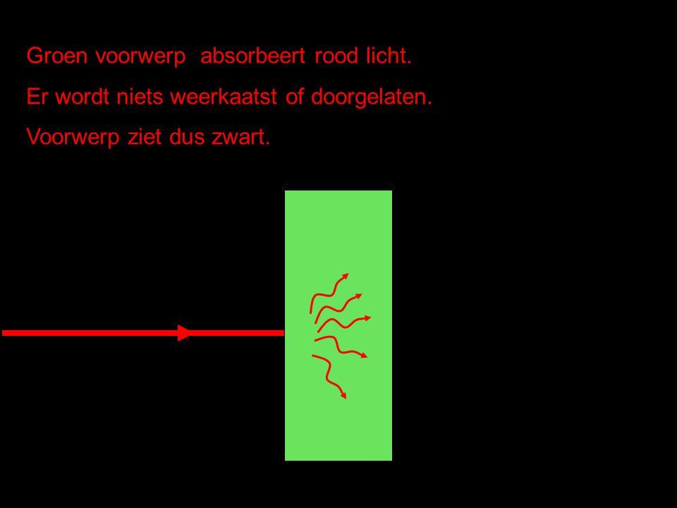 Groen voorwerp absorbeert rood licht. Er wordt niets weerkaatst of doorgelaten. Voorwerp ziet dus zwart.