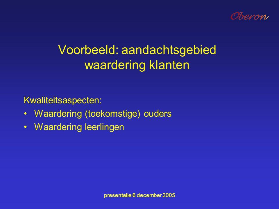 presentatie 6 december 2005 Voorbeeld: aandachtsgebied waardering klanten Kwaliteitsaspecten: Waardering (toekomstige) ouders Waardering leerlingen