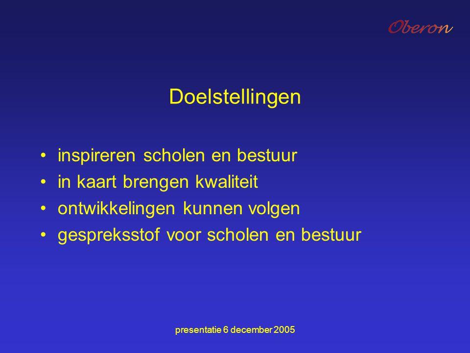 presentatie 6 december 2005 Doelstellingen inspireren scholen en bestuur in kaart brengen kwaliteit ontwikkelingen kunnen volgen gespreksstof voor sch