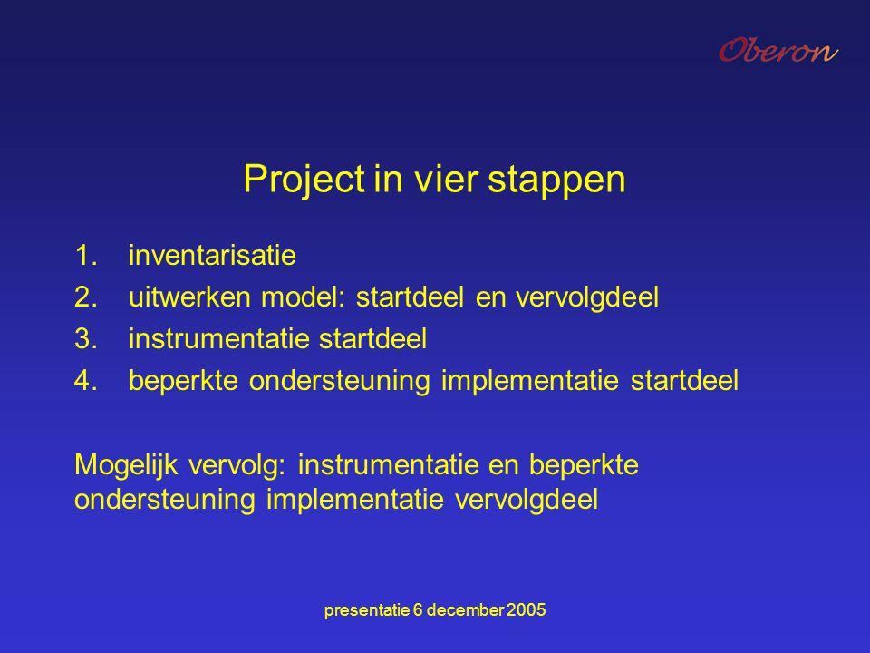 presentatie 6 december 2005 Project in vier stappen 1.inventarisatie 2.uitwerken model: startdeel en vervolgdeel 3.instrumentatie startdeel 4.beperkte