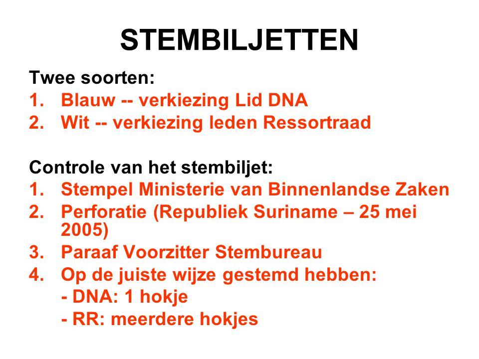STEMBILJETTEN Twee soorten: 1.Blauw -- verkiezing Lid DNA 2.Wit -- verkiezing leden Ressortraad Controle van het stembiljet: 1.Stempel Ministerie van