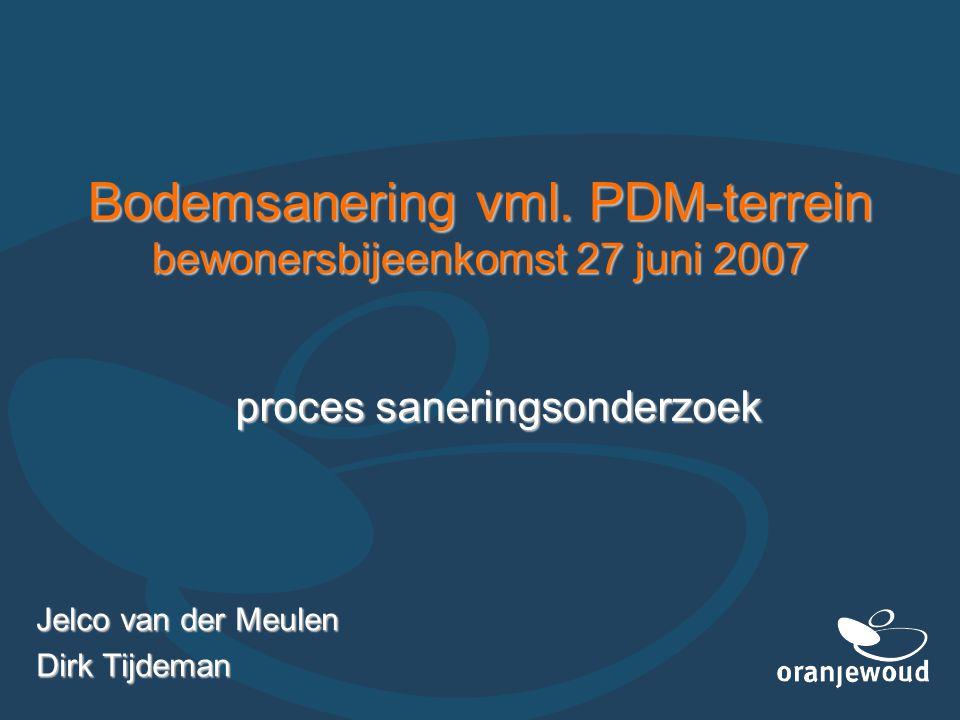 Bodemsanering vml. PDM-terrein bewonersbijeenkomst 27 juni 2007 Jelco van der Meulen Dirk Tijdeman proces saneringsonderzoek