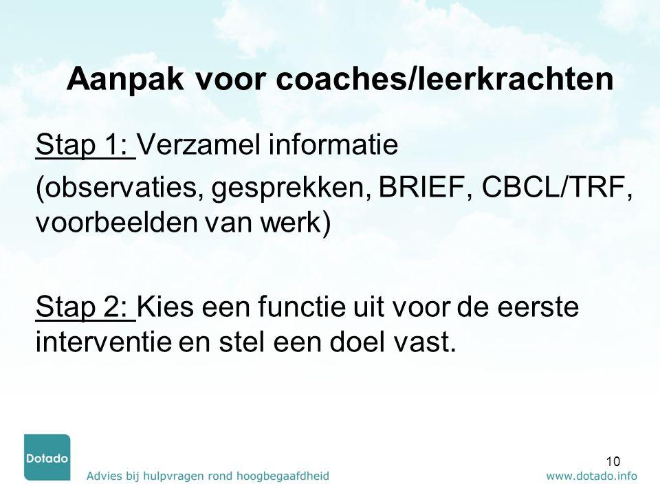 Aanpak voor coaches/leerkrachten Stap 1: Verzamel informatie (observaties, gesprekken, BRIEF, CBCL/TRF, voorbeelden van werk) Stap 2: Kies een functie