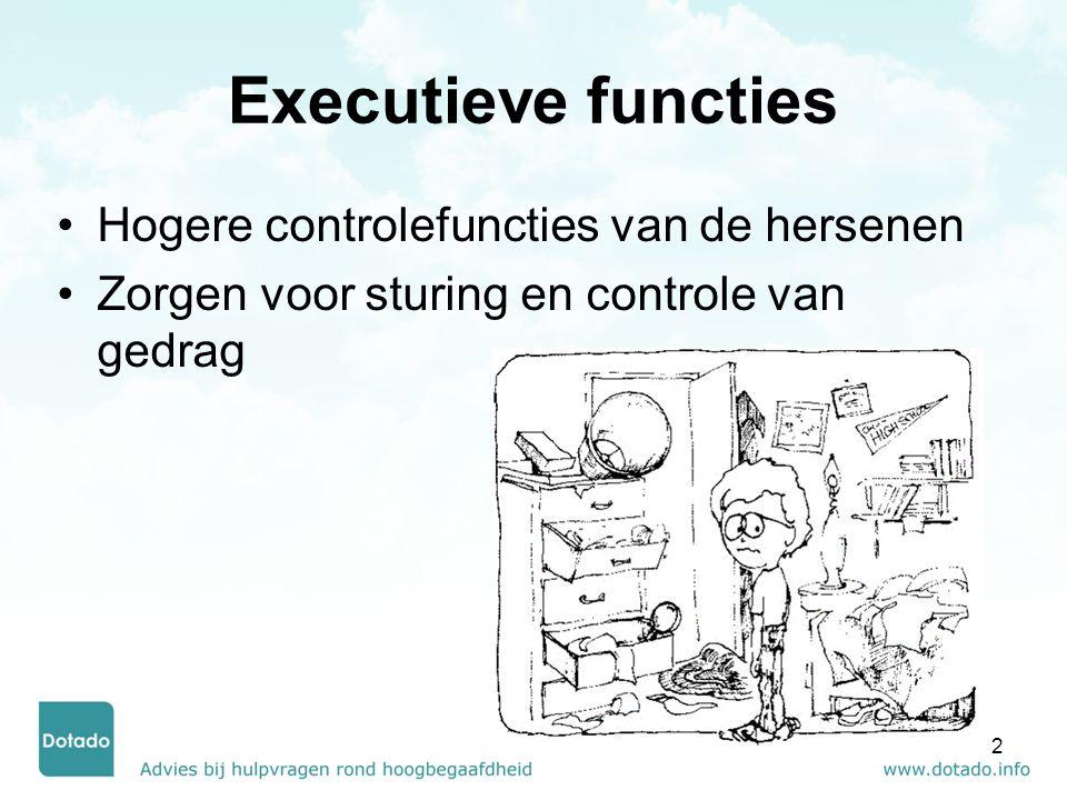 Executieve functies Denken (cognitie) Werkgeheugen Planning/prioritisering Organisatie Timemanagement Metacognitie Doen (gedrag) Respons-inhibitie Emotieregulatie Volgehouden aandacht Taakinitiatie Doelgericht gedrag Flexibiliteit 3