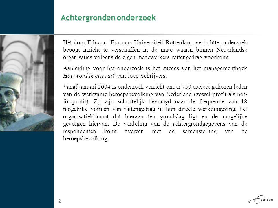 2 Achtergronden onderzoek Het door Ethicon, Erasmus Universiteit Rotterdam, verrichtte onderzoek beoogt inzicht te verschaffen in de mate waarin binne