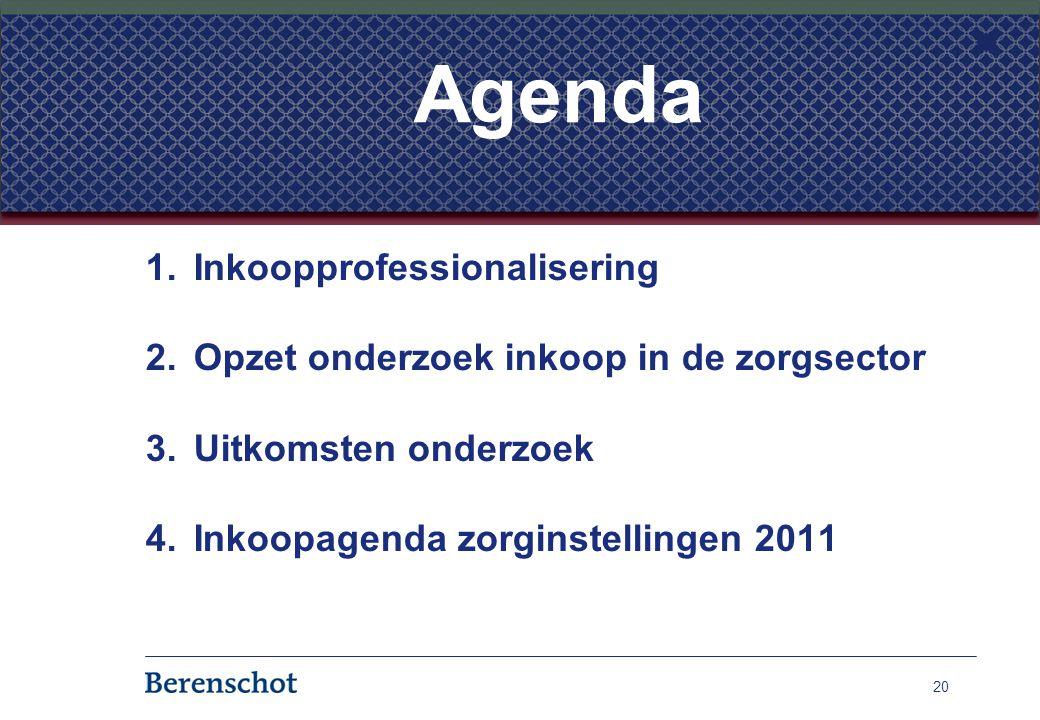 1.Inkoopprofessionalisering 2.Opzet onderzoek inkoop in de zorgsector 3.Uitkomsten onderzoek 4.Inkoopagenda zorginstellingen 2011 20 Agenda