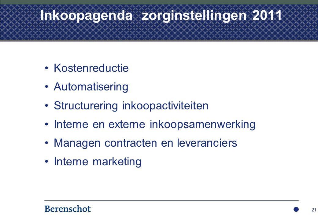 Inkoopagenda zorginstellingen 2011 Kostenreductie Automatisering Structurering inkoopactiviteiten Interne en externe inkoopsamenwerking Managen contracten en leveranciers Interne marketing 21