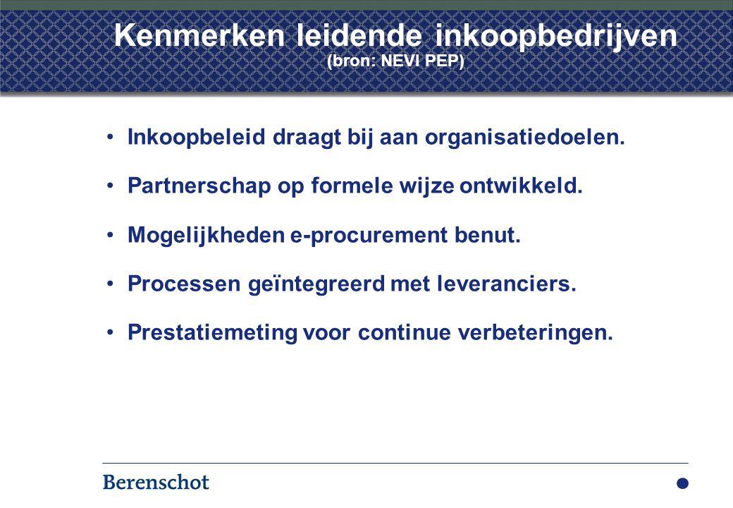 Kenmerken leidende inkoopbedrijven (bron: NEVI PEP) Inkoopbeleid draagt bij aan organisatiedoelen.