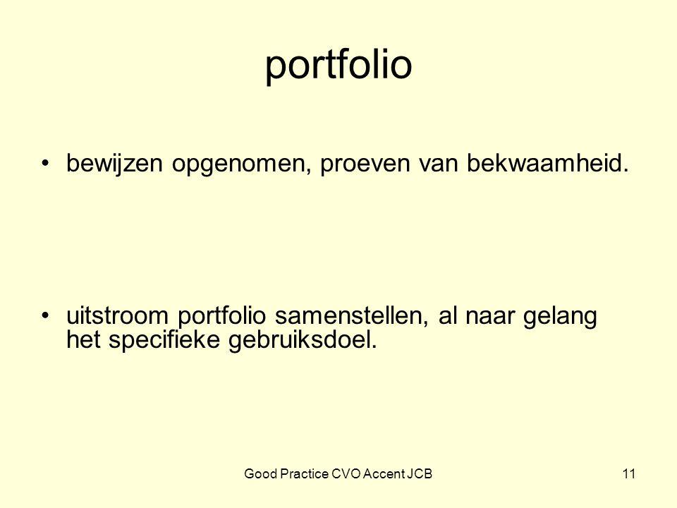 portfolio bewijzen opgenomen, proeven van bekwaamheid. uitstroom portfolio samenstellen, al naar gelang het specifieke gebruiksdoel. 11Good Practice C