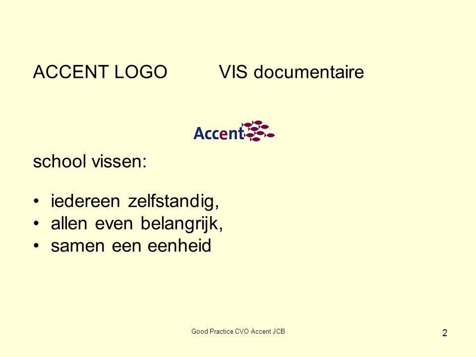 ACCENT LOGO VIS documentaire school vissen: iedereen zelfstandig, allen even belangrijk, samen een eenheid 2 Good Practice CVO Accent JCB
