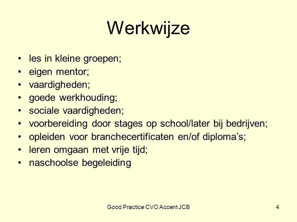 Werkwijze les in kleine groepen; eigen mentor; vaardigheden; goede werkhouding; sociale vaardigheden; voorbereiding door stages op school/later bij be