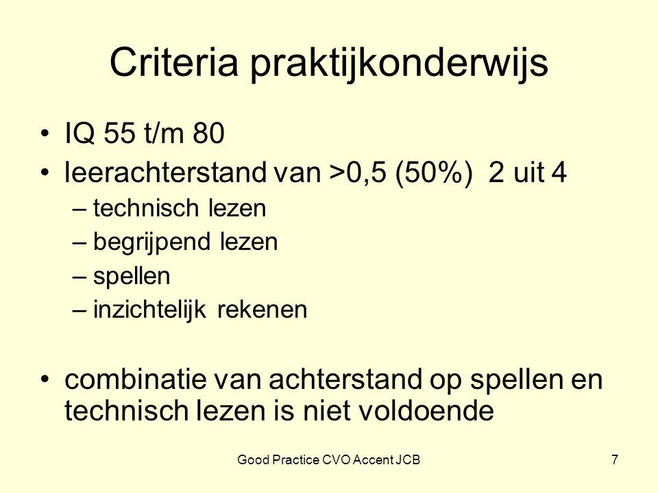 Criteria praktijkonderwijs IQ 55 t/m 80 leerachterstand van >0,5 (50%) 2 uit 4 –technisch lezen –begrijpend lezen –spellen –inzichtelijk rekenen combi