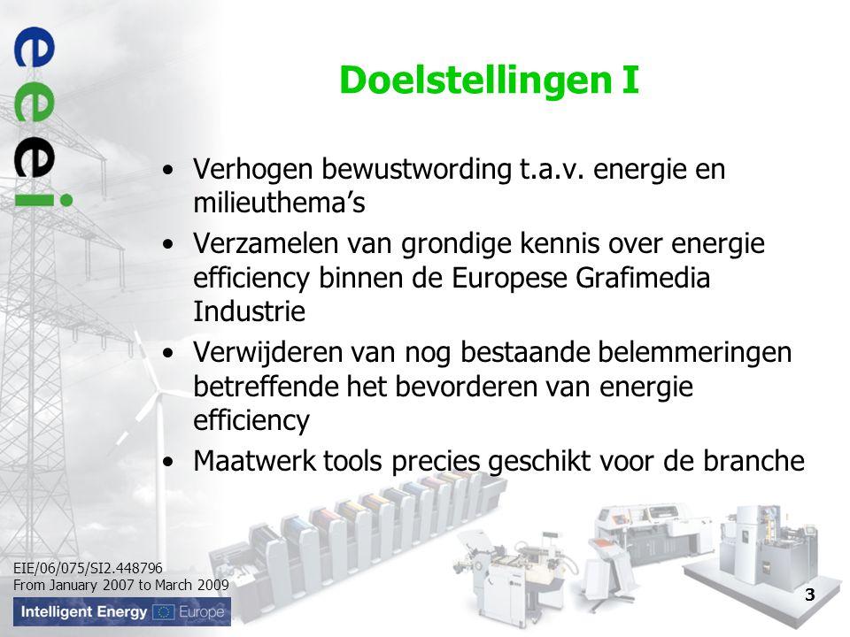 EIE/06/075/SI2.448796 From January 2007 to March 2009 Doelstellingen II Mogelijk maken van directe jaarlijkse reductie van energiegebruik en kosten Reduceren van de CO ² uitstoot met 2.500 ton en besparen van een totaalsom van 500.000€ aan energiekosten inclusief ca.100 MKB bedrijven in maart 2009 4