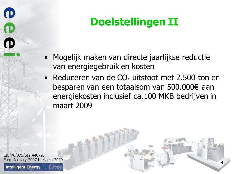 EIE/06/075/SI2.448796 From January 2007 to March 2009 Doelstellingen II Mogelijk maken van directe jaarlijkse reductie van energiegebruik en kosten Re