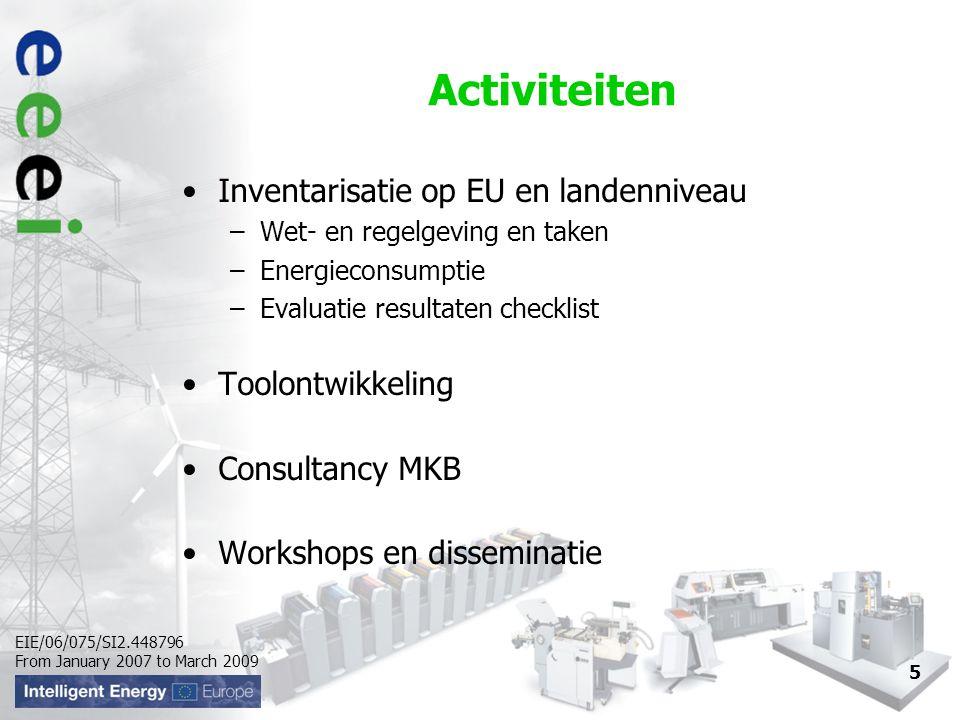 EIE/06/075/SI2.448796 From January 2007 to March 2009 Activiteiten Inventarisatie op EU en landenniveau –Wet- en regelgeving en taken –Energieconsumpt