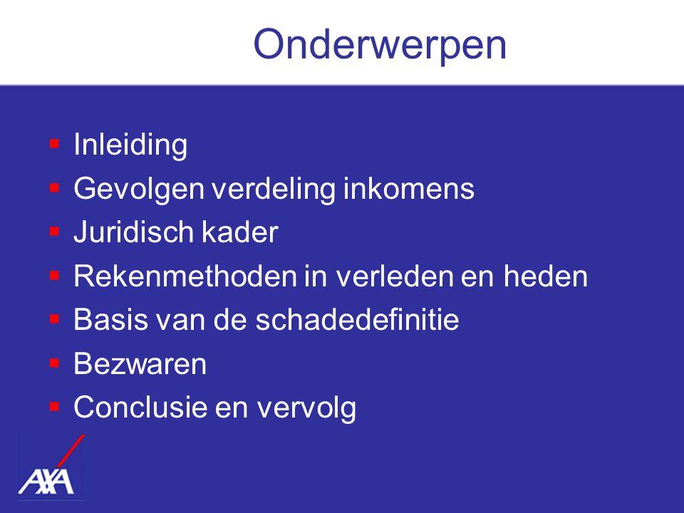  Inleiding  Gevolgen verdeling inkomens  Juridisch kader  Rekenmethoden in verleden en heden  Basis van de schadedefinitie  Bezwaren  Conclusie