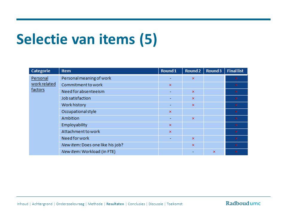 Selectie van items (5) Inhoud | Achtergrond | Onderzoeksvraag | Methode | Resultaten | Conclusies | Discussie | Toekomst