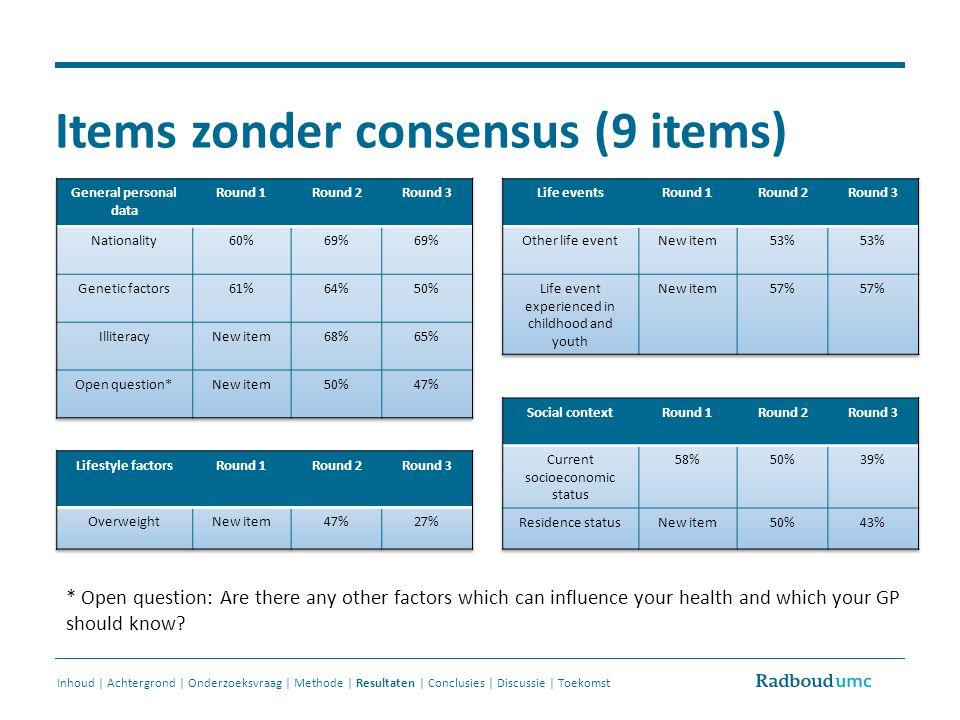 Items zonder consensus (9 items) Inhoud | Achtergrond | Onderzoeksvraag | Methode | Resultaten | Conclusies | Discussie | Toekomst * Open question: Ar