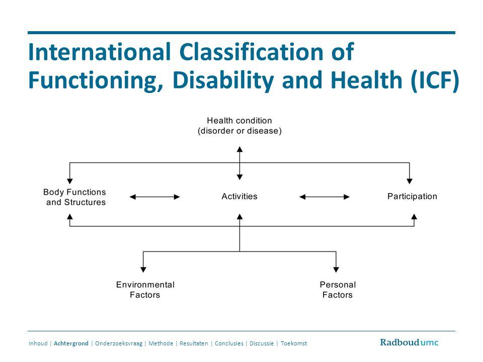 Doelstellingen studie Samenstellen van een lijst van persoonlijke factoren Voor iedere volwassen patiënt Door patiënt zelf in te vullen / te actualiseren Inhoud | Achtergrond | Onderzoeksvraag | Methode | Resultaten | Conclusies | Discussie | Toekomst