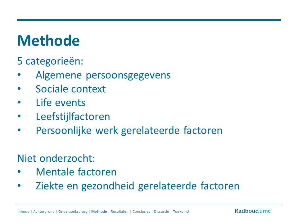 Methode 5 categorieën: Algemene persoonsgegevens Sociale context Life events Leefstijlfactoren Persoonlijke werk gerelateerde factoren Niet onderzocht