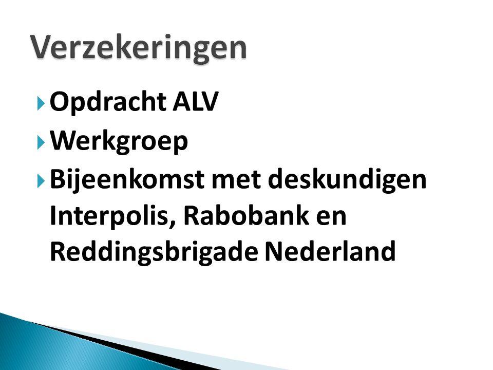  Opdracht ALV  Werkgroep  Bijeenkomst met deskundigen Interpolis, Rabobank en Reddingsbrigade Nederland