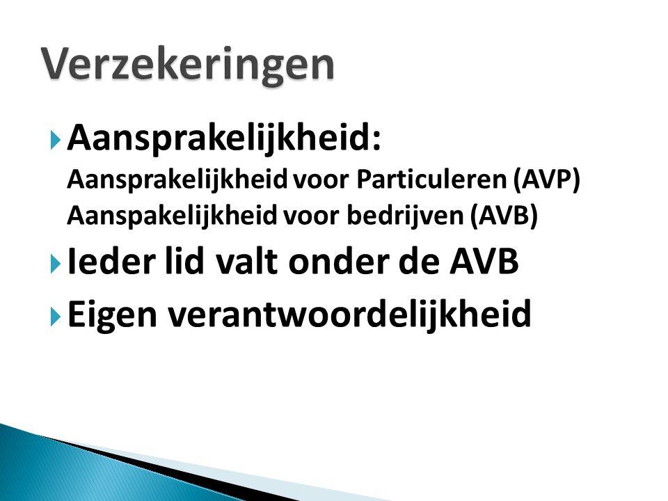 Aansprakelijkheid: Aansprakelijkheid voor Particuleren (AVP) Aanspakelijkheid voor bedrijven (AVB)  Ieder lid valt onder de AVB  Eigen verantwoordelijkheid