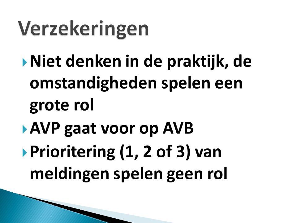  Niet denken in de praktijk, de omstandigheden spelen een grote rol  AVP gaat voor op AVB  Prioritering (1, 2 of 3) van meldingen spelen geen rol