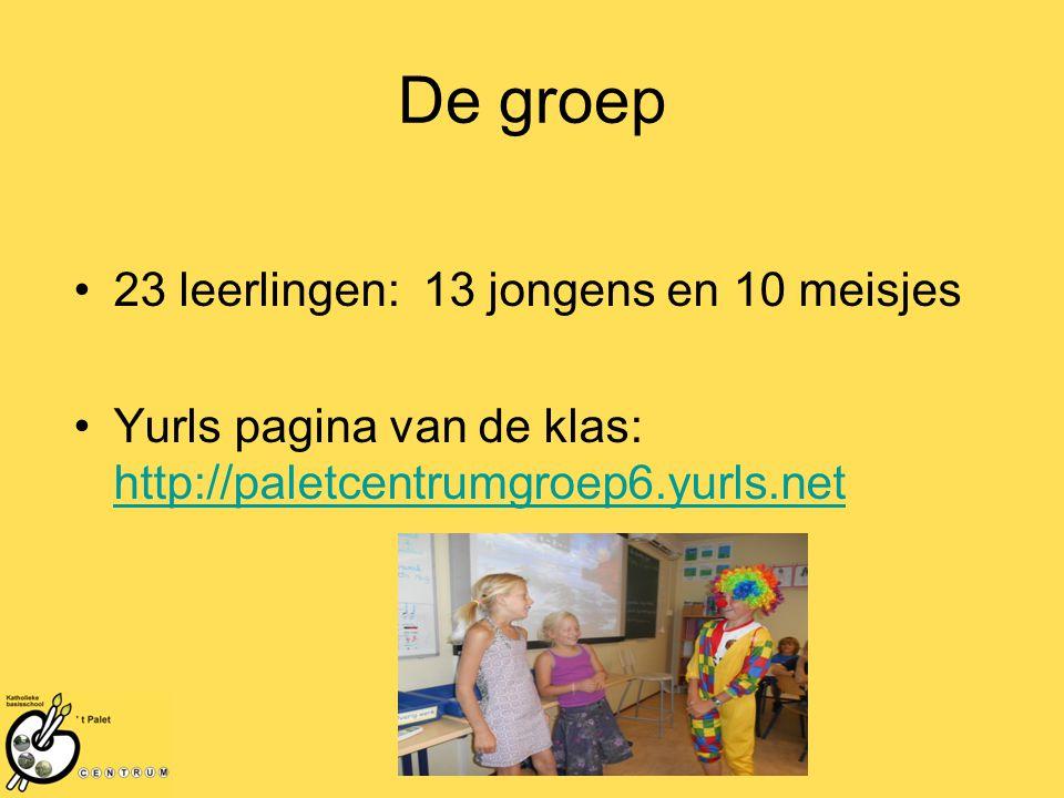 De groep 23 leerlingen: 13 jongens en 10 meisjes Yurls pagina van de klas: http://paletcentrumgroep6.yurls.net http://paletcentrumgroep6.yurls.net