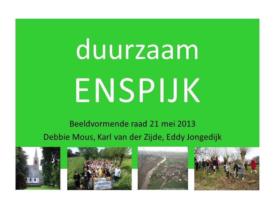 duurzaam ENSPIJK Beeldvormende raad 21 mei 2013 Debbie Mous, Karl van der Zijde, Eddy Jongedijk