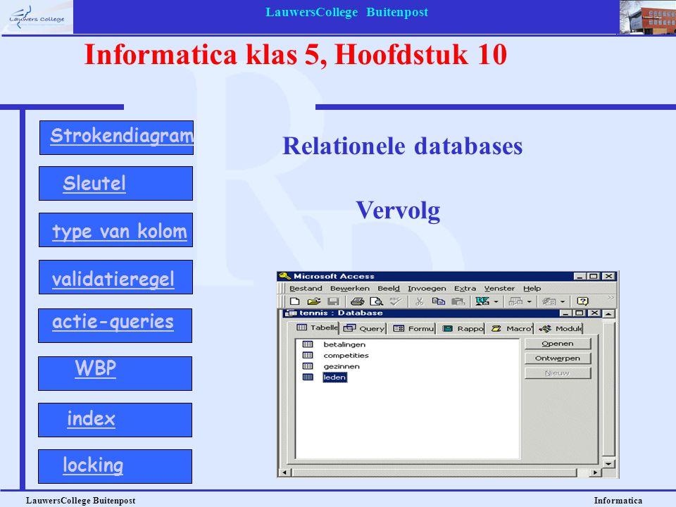 LauwersCollege Buitenpost LauwersCollege Buitenpost Informatica Informatica klas 5, Hoofdstuk 10 Relationele databases Vervolg Strokendiagram Sleutel