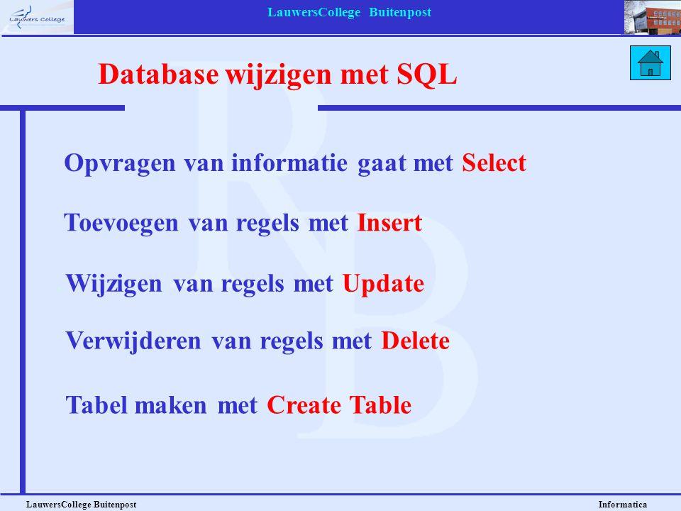 LauwersCollege Buitenpost LauwersCollege Buitenpost Informatica Opvragen van informatie gaat met Select Toevoegen van regels met Insert Database wijzi