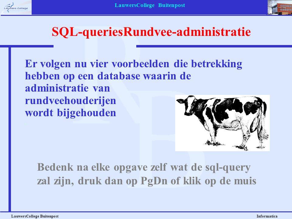 LauwersCollege Buitenpost LauwersCollege Buitenpost Informatica Er volgen nu vier voorbeelden die betrekking hebben op een database waarin de administ