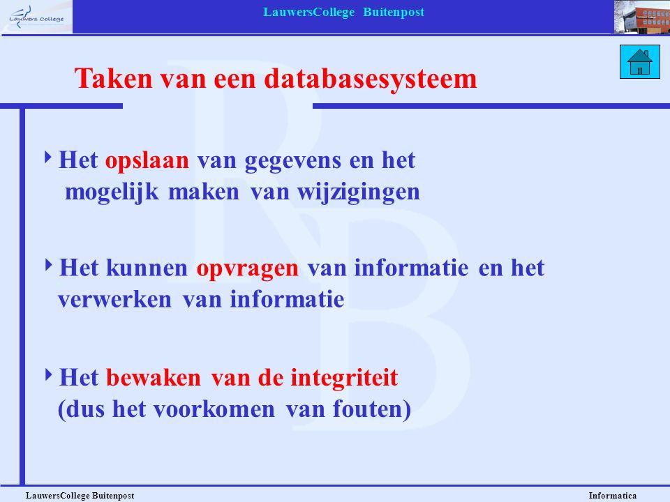 LauwersCollege Buitenpost LauwersCollege Buitenpost Informatica Taken van een databasesysteem  Het opslaan van gegevens en het mogelijk maken van wij