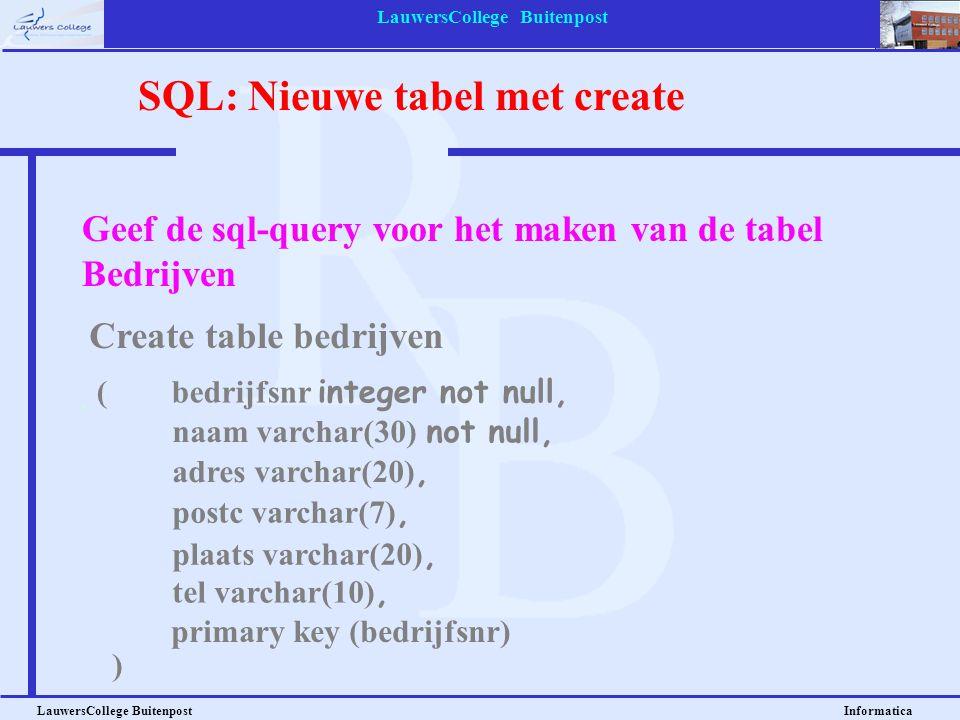 LauwersCollege Buitenpost LauwersCollege Buitenpost Informatica Geef de sql-query voor het maken van de tabel Bedrijven Create table bedrijven SQL: Ni