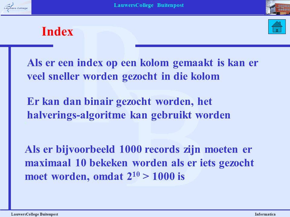 LauwersCollege Buitenpost LauwersCollege Buitenpost Informatica Als er een index op een kolom gemaakt is kan er veel sneller worden gezocht in die kol