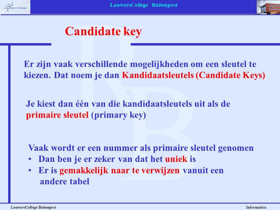 LauwersCollege Buitenpost LauwersCollege Buitenpost Informatica Candidate key Er zijn vaak verschillende mogelijkheden om een sleutel te kiezen. Dat n